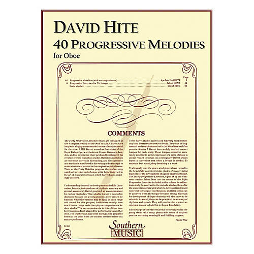 Southern 40 Progressive Melodies (Oboe) Southern Music Series Arranged by David Hite