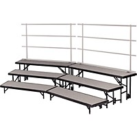 Midwest Folding Products Tiered Tapered Standing Choral Risers 3 Level, Pewter Gray Carpet