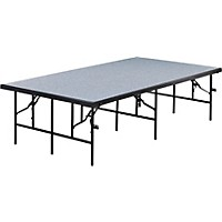Midwest Folding Products 4' Deep X 8' Wide Single Height Portable Stage & Seated Riser 24 Inches High Pewter Gray Carpet