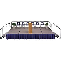 Midwest Folding Products 4' Deep X 8' Wide Single Height Portable Stage & Seated Riser 8 Inches High Pewter Gray Carpet