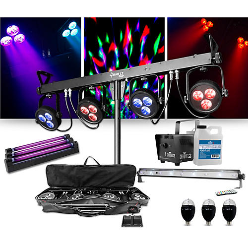 CHAUVET DJ 4Bar LT USB Wash Light System with Jam Pack Emerald and Party Effects Package