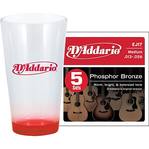 D'Addario 5-Pack EJ17 with Pint Glass
