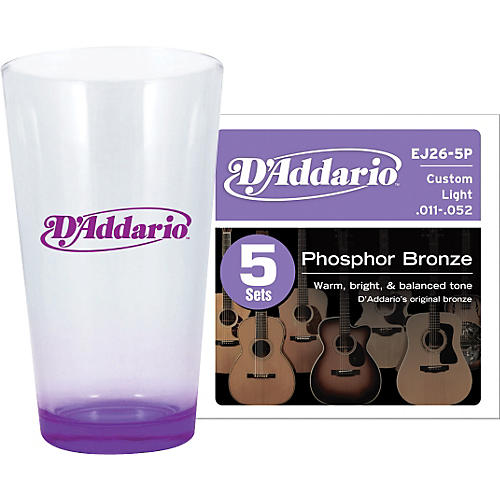 D'Addario 5-Pack EJ26 with Pint Glass