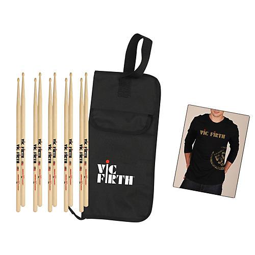 Vic Firth 5-Pair 5A Sticks with Free Vic Firth 50th Logo T-shirt