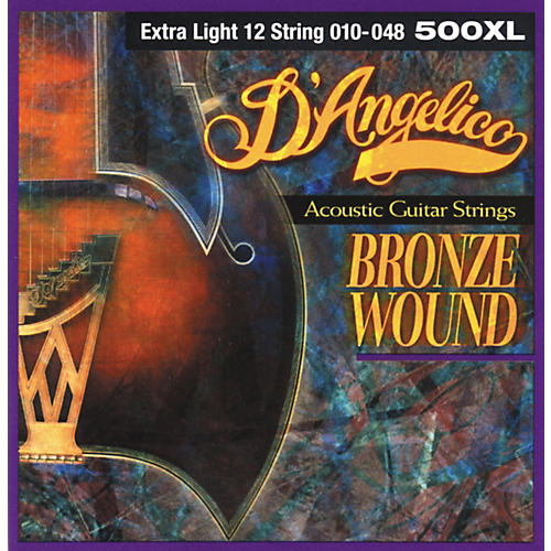 D'Angelico 500XL Bronze Wound Extra Light 12-String Acoustic Guitar Strings