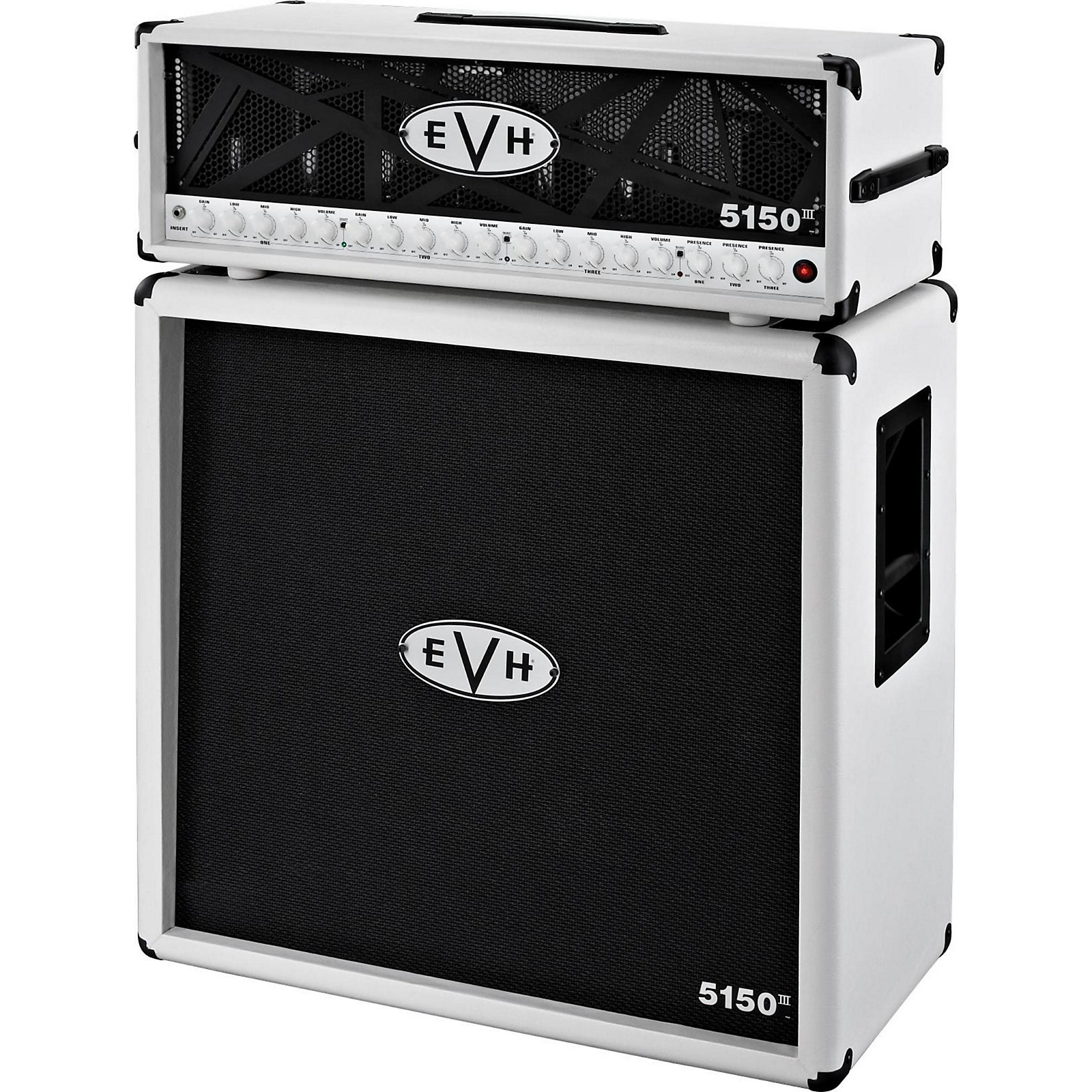 EVH 5150 III 100W Guitar Tube Head Ivory with 5150 III 412 Guitar Cab Ivory