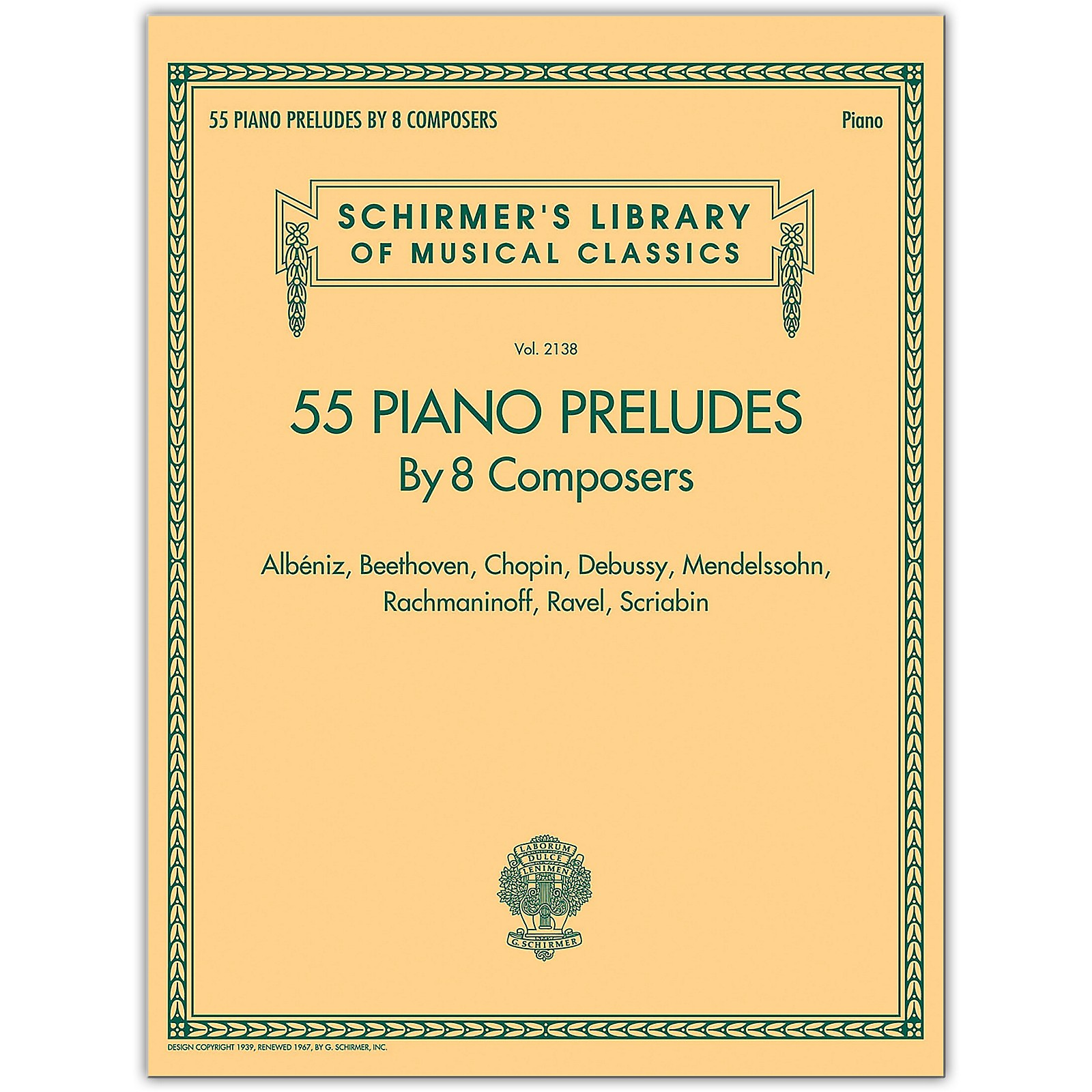 G. Schirmer 55 Piano Preludes By 8 Composers - Schirmer's Library Of Musical Classics