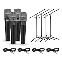 Shure Beta 57A Dynamic Microphone With Cable And Stand 4 Pack