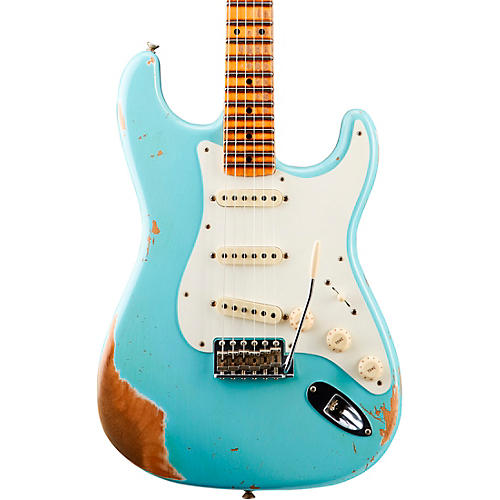 Fender Custom Shop '59 Heavy Relic Stratocaster Maple Fingerboard Electric Guitar Aged Daphne Blue