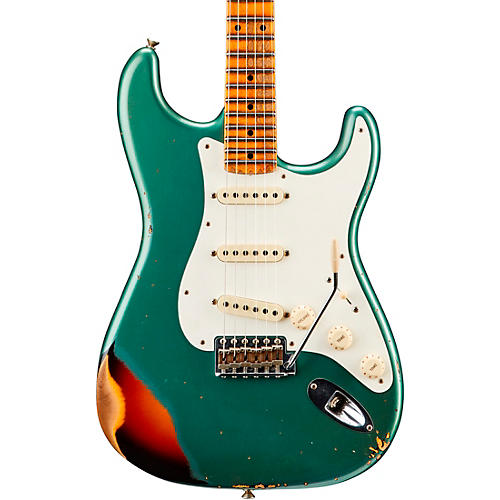 Fender Custom Shop '59 Stratocaster Heavy Relic Flame Maple Neck NAMM Limited-Edition Electric Guitar Faded Aged Sherwood Green Metallic over Chocolate 3- Color Sunburst