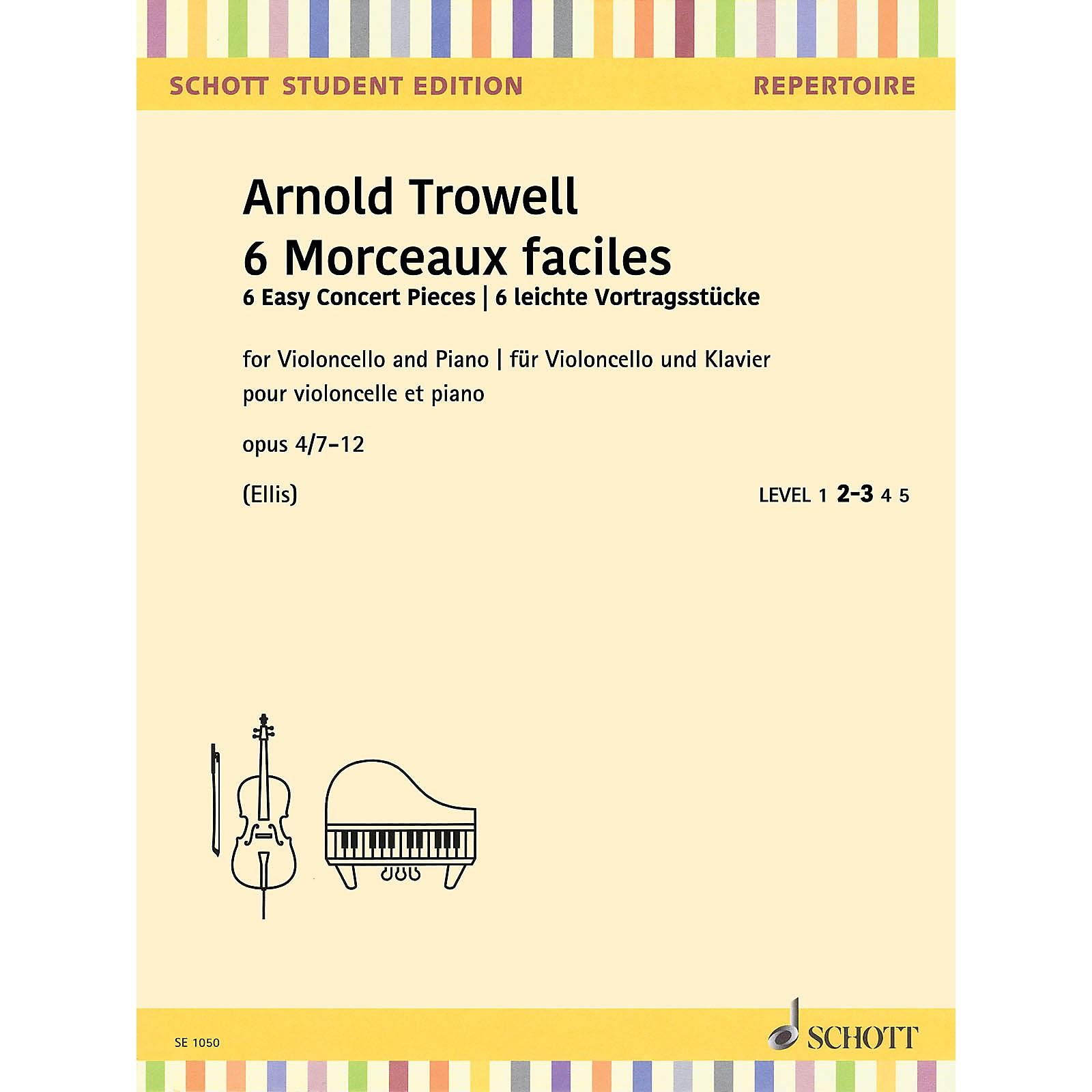 Schott 6 Easy Concert Pieces, Op. 4, 7-10 Cello and Piano
