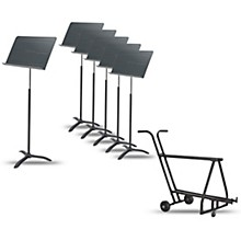 Proline 6-Pack Professional Orchestral Music Stand With Manhasset Music Stand Short Storage Cart (Holds 12-13)