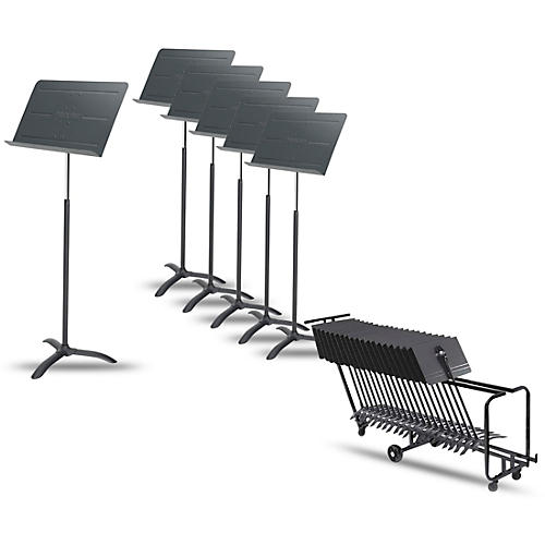 Proline 6-Pack Professional Orchestral Music Stand With Manhasset Storage Cart (Holds 25)