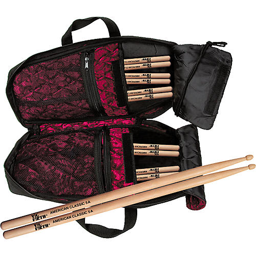 Coffin Case 6-Pair Vic Firth 5A Drumsticks & Bodybag Stick Bag