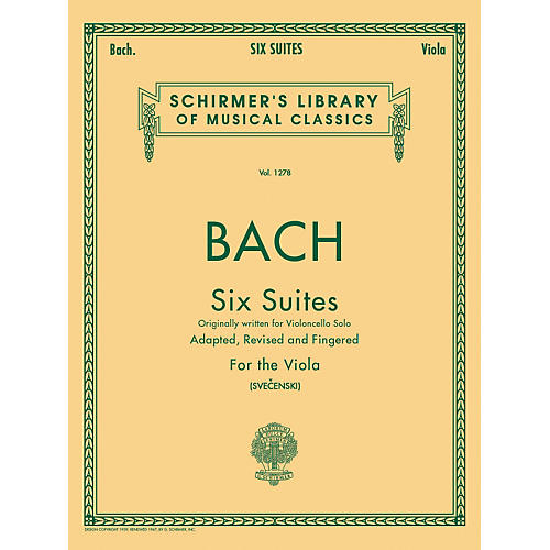 G. Schirmer 6 Suites for Unaccompanied Viola Originally for Violoncello By Bach