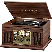 6-in-1 Nostalgic Bluetooth Record Player with CD, Cassette and Radio Espresso