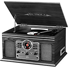6-in-1 Nostalgic Bluetooth Record Player with CD, Cassette and Radio Graphite