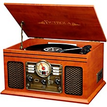 6-in-1 Nostalgic Bluetooth Record Player with CD, Cassette and Radio Mahogany
