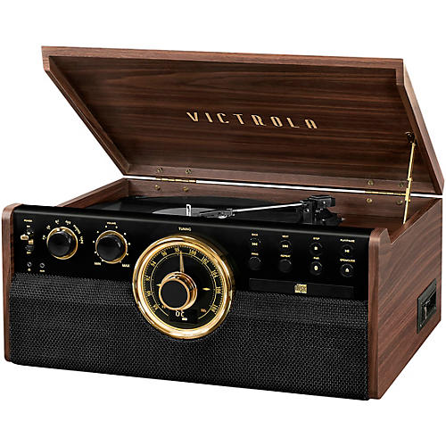 Victrola 6-in-1 Wood Empire Mid Century Modern Bluetooth Record Player with 3-Speed Turntable, CD, Cassette Player and Radio Espresso