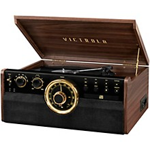 Open Box Victrola 6-in-1 Wood Empire Mid Century Modern Bluetooth Record Player with 3-Speed Turntable, CD, Cassette Player and Radio