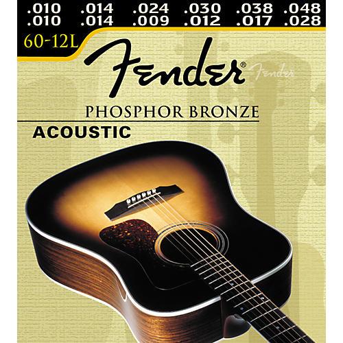 Fender 60-12L 12-String Phosphor Bronze Light Ball End Acoustic Guitar Strings