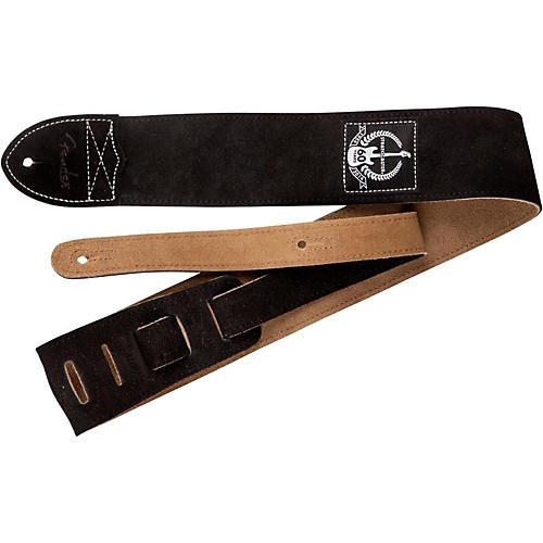Fender 60th Anniversary Black Leather Guitar Strap