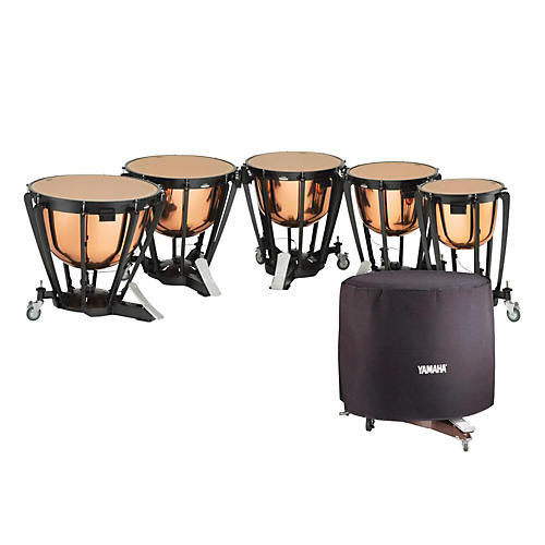 Yamaha 6300 Series Intermediate Polished Copper Timpani Set with Long Covers 23, 26, 29, and 32 in.