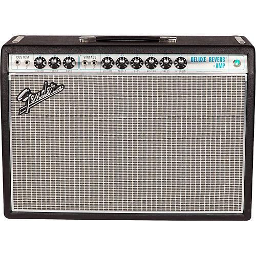 Fender '68 Custom Deluxe Reverb 22W 1x12 Tube Guitar Combo Amp with Celestion G12V-70 Speaker Condition 1 - Mint Black