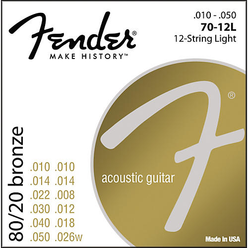 Fender 70-12L 80/20 Bronze 12-String Acoustic Strings - Light