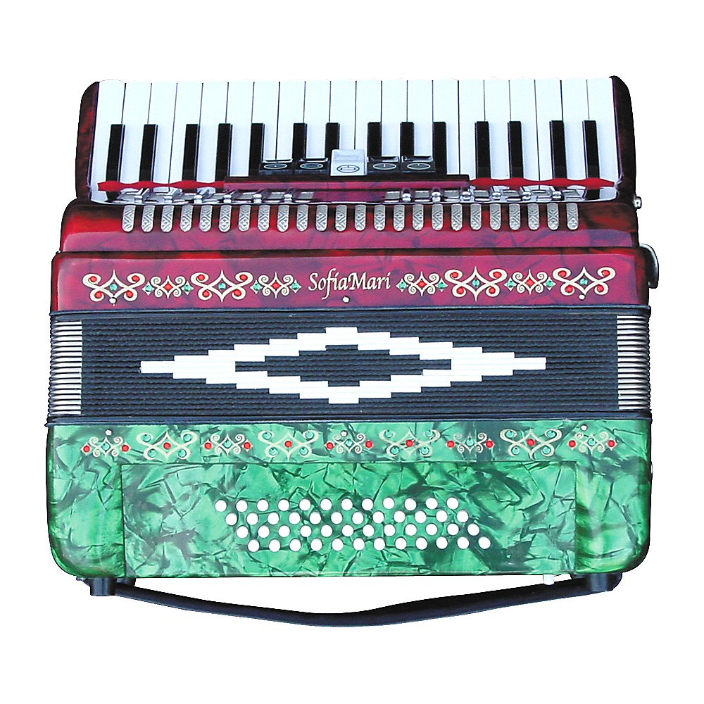 SofiaMari SM-3448 34 Piano 48-Bass Accordion Red and Green Pearl 190839187628