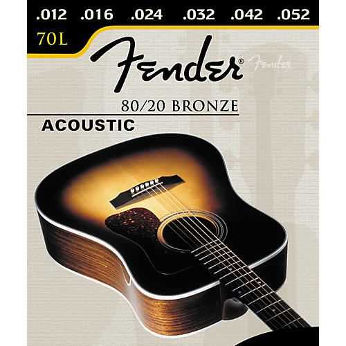 Fender 70L 80/20 Bronze Light Acoustic Ball End Acoustic Guitar Strings