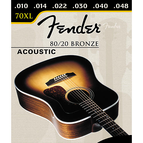 Fender 70XL 80/20 Bronze Extra Light Ball End Acoustic Guitar Strings