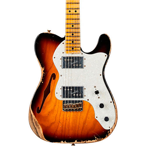 Fender Custom Shop 72 Telecaster Thinline Heavy Relic Maple Fingeboard Limited Edition Electric Guitar Faded Aged 3-Color Sunburst