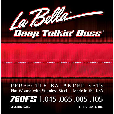 LaBella 760FS Deep Talkin' Bass Flat Wound Standard Electric Bass Strings
