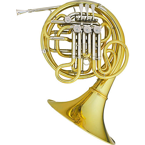 Hans Hoyer 7801A Heritage Kruspe Style Series Double Horn with Mechanical Linkage and Detachable Bell Yellow Brass Detachable Bell
