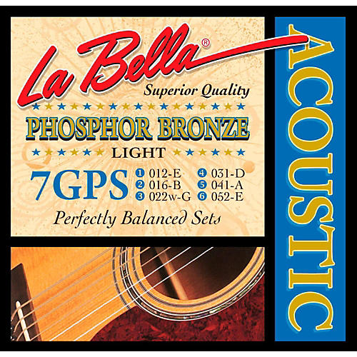 LaBella 7GPS Phosphor Bronze Light Acoustic Guitar Strings
