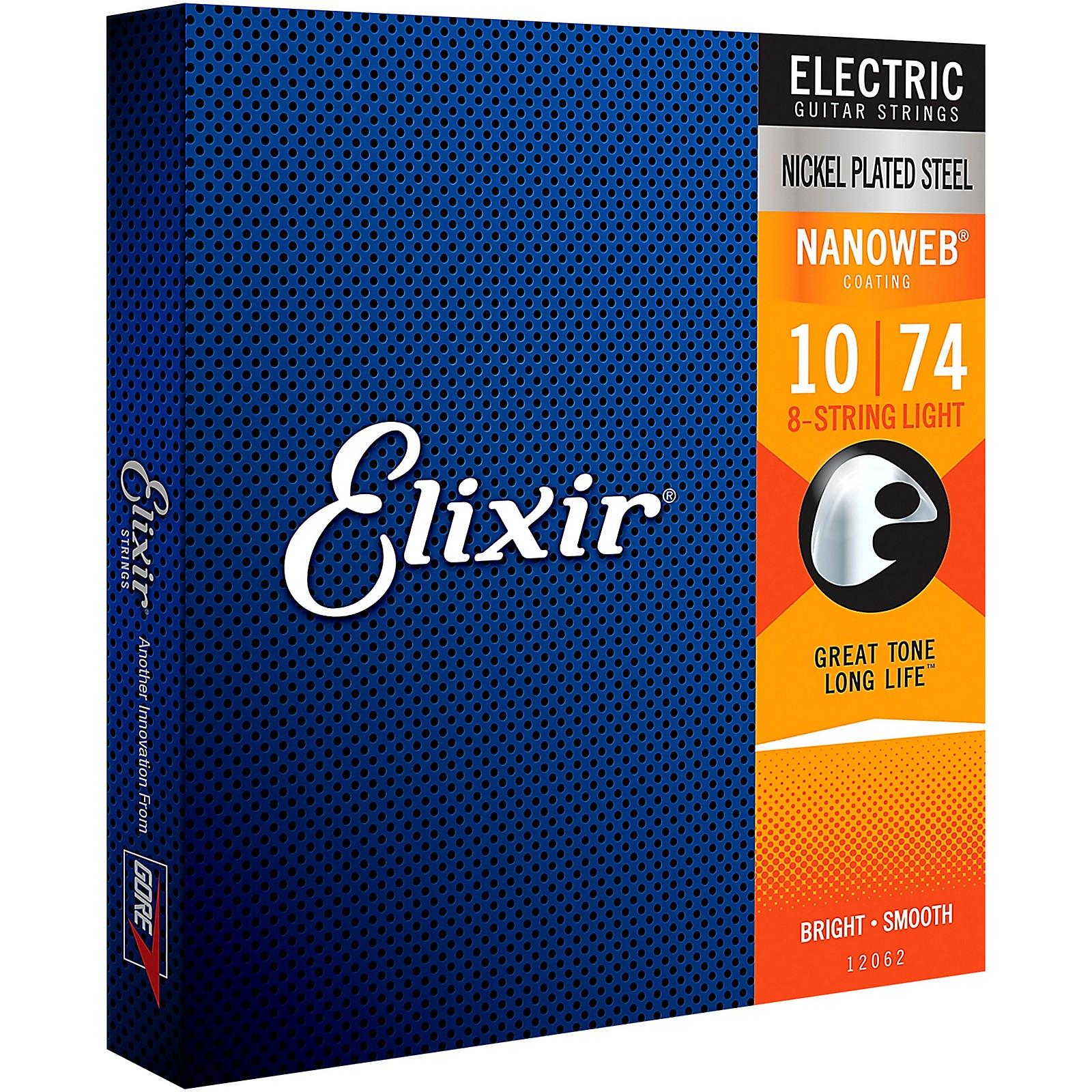 Elixir 8-String Electric Guitar Strings with NANOWEB Coating
