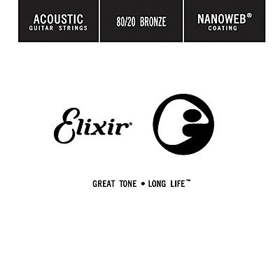 Elixir 80/20 Bronze Single Acoustic Guitar String with NANOWEB Coating (.024)