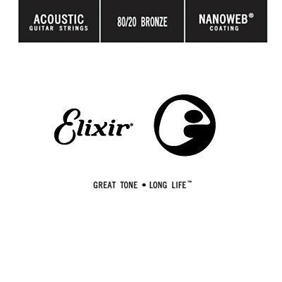 Elixir 80/20 Bronze Single Acoustic Guitar String with NANOWEB Coating (.035)