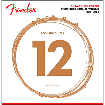 Fender 860L Phosphor Bronze Dura-Tone Coated Acoustic Guitar Strings 12-53