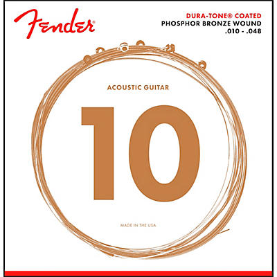 Fender 860XL Phosphor Bronze Dura-Tone Coated Extra Light Acoustic Guitar Strings 10-48