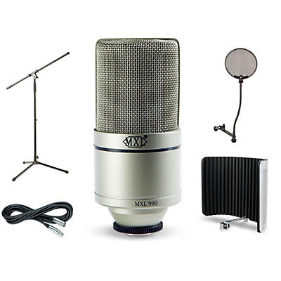 MXL 990 Large-Diaphragm Condenser Microphone Bundle With VMS Vocal Shield, Boom Stand, Pop Filter and Cable