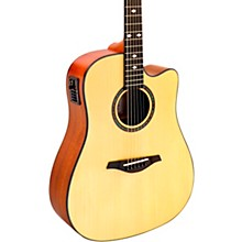 Open Box Hohner A+ AS355CE Solid Top Cutaway Dreadnought Acoustic-Electric Guitar With Gig Bag