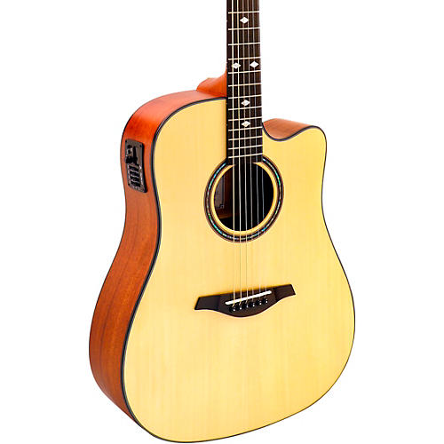hohner a as355ce solid top cutaway dreadnought acoustic electric guitar with gig bag musician. Black Bedroom Furniture Sets. Home Design Ideas