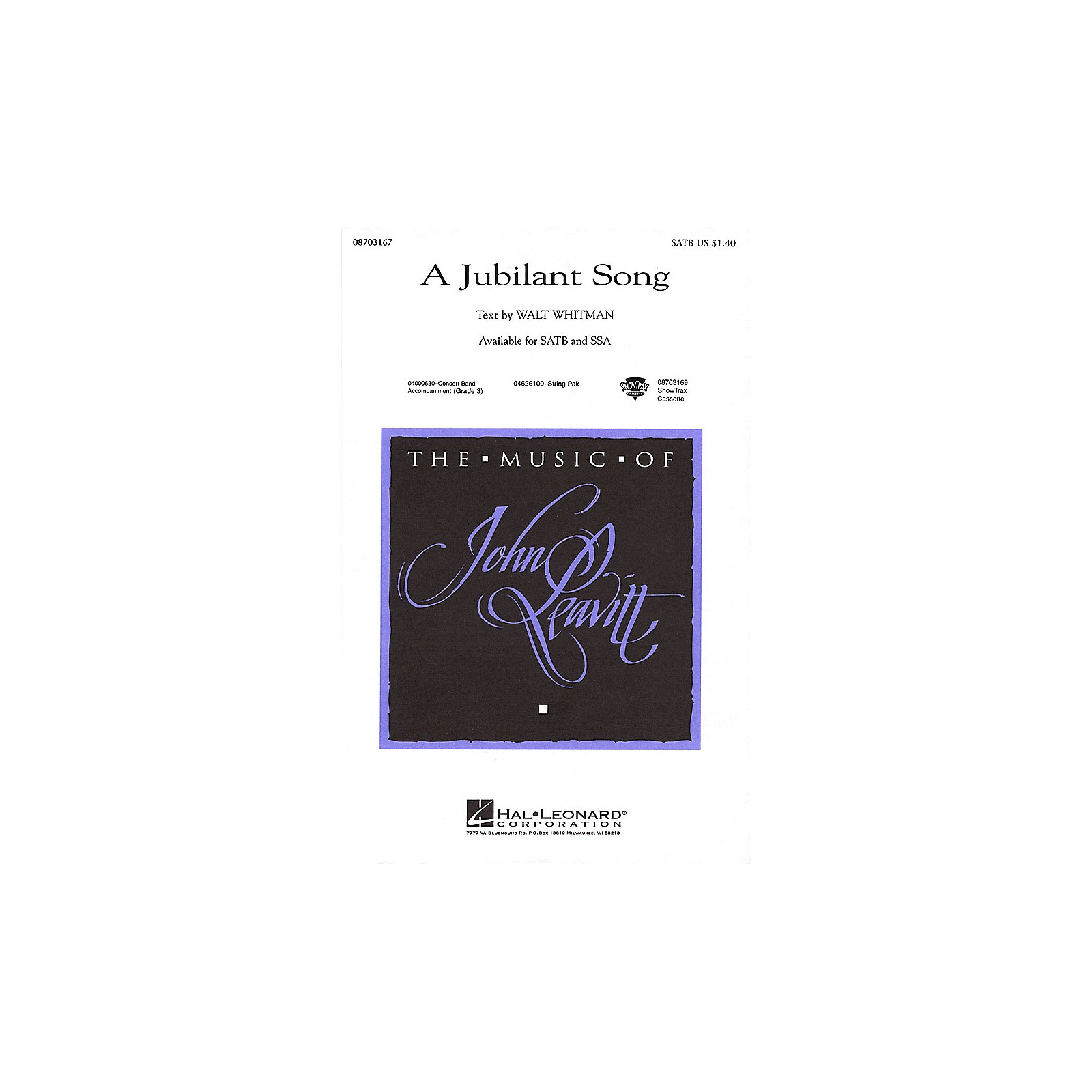 Hal Leonard A Jubilant Song SATB composed by John Leavitt