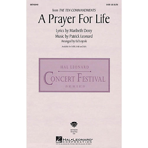 Hal Leonard A Prayer for Life (from The Ten Commandments) ShowTrax CD Arranged by Ed Lojeski