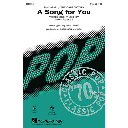 Hal Leonard A Song for You SSA arranged by Mac Huff