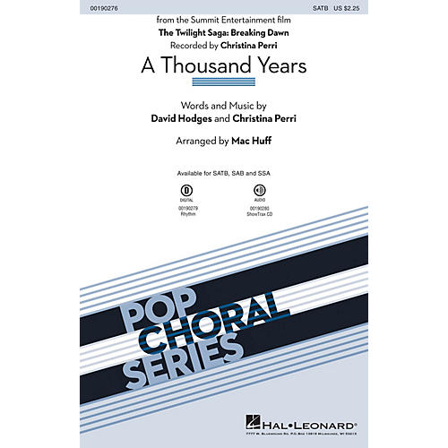 Hal Leonard A Thousand Years SATB by Christina Perri arranged by Mac Huff
