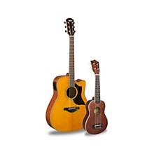 A1M Acoustic-Electric Guitar and Ukulele Package Vintage Natural