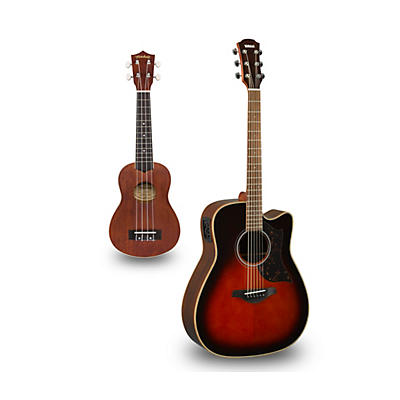Yamaha A1R Cutaway Dreadnought Acoustic-Electric Guitar and Ukulele Package